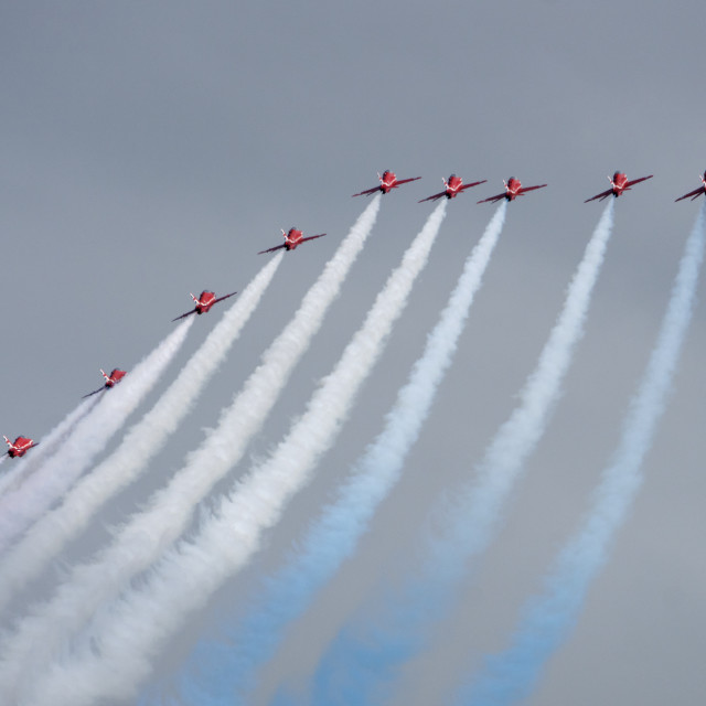 """""""Red Arrows into a grey sky"""" stock image"""