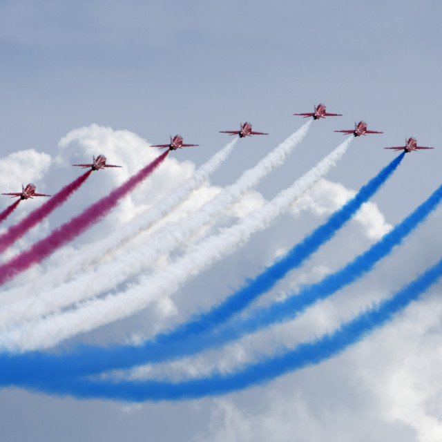 """""""Red Arrows above the clouds"""" stock image"""