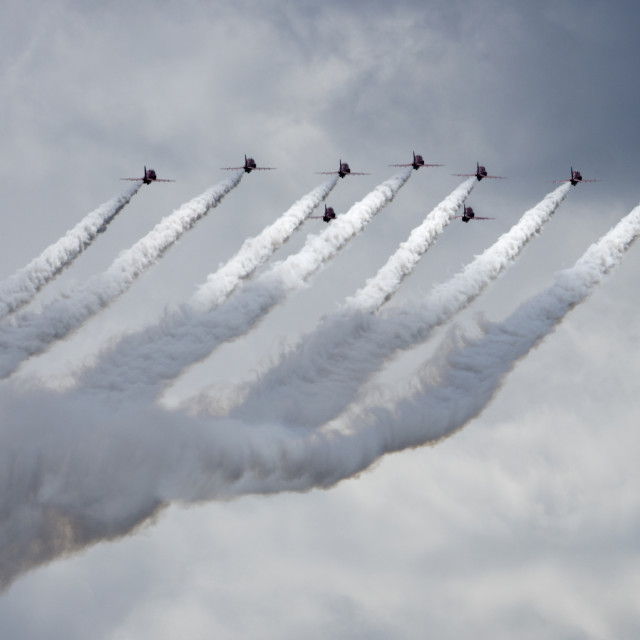 """""""Red Arrows with dramatic smoke trails"""" stock image"""