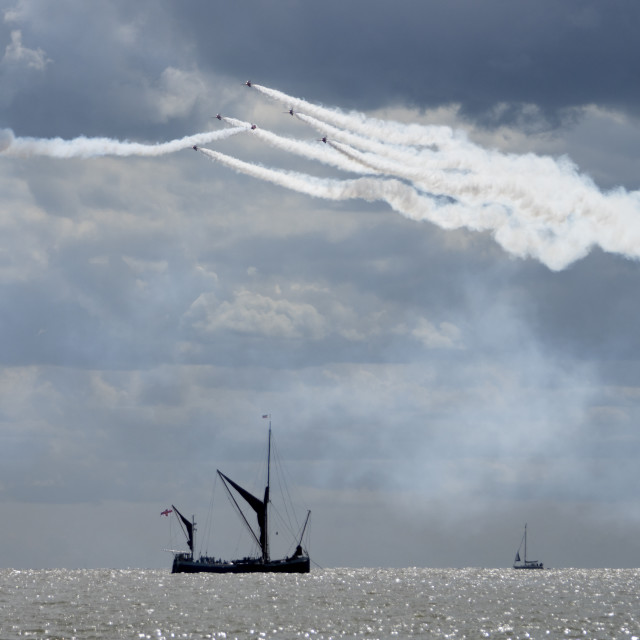"""""""Thames Barge and the Red Arrows"""" stock image"""