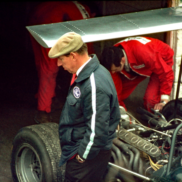 """""""Ken Tyrell inspects race preparation in the Brands Hatch garages"""" stock image"""