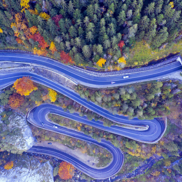 """Mountain serpentines road, above view"" stock image"