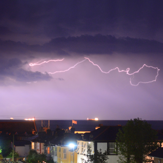 """Lightning Storm Over the Bay"" stock image"