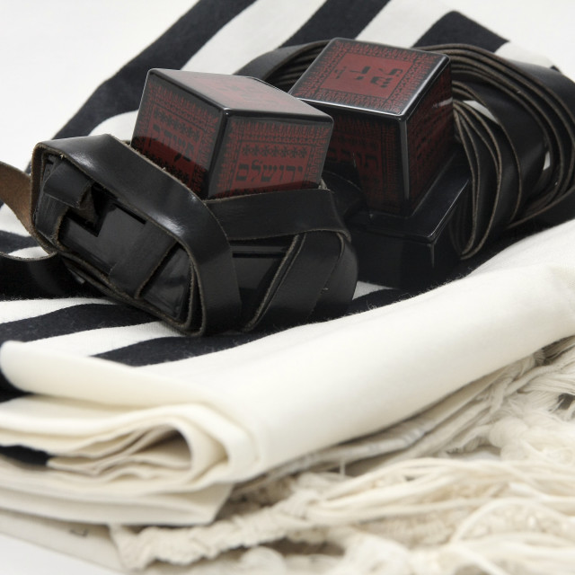 """""""Tifillin and Talit"""" stock image"""