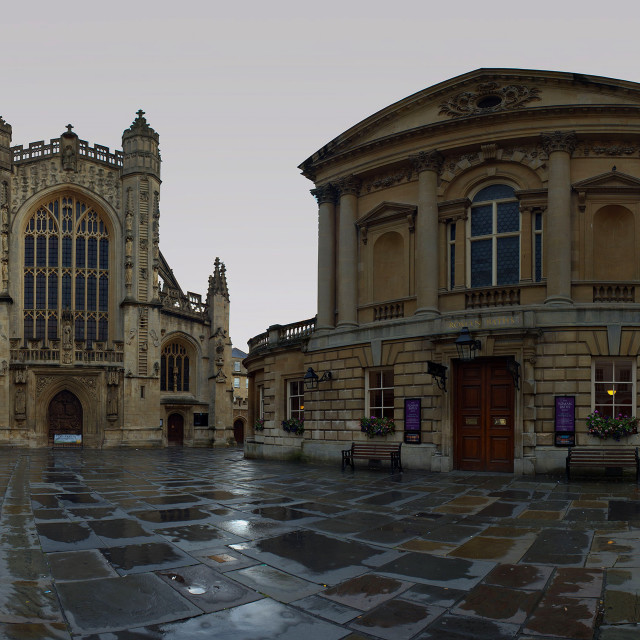 """Panorama of Bath Abbey and Historic Roman Pump Room - City of Bath"" stock image"