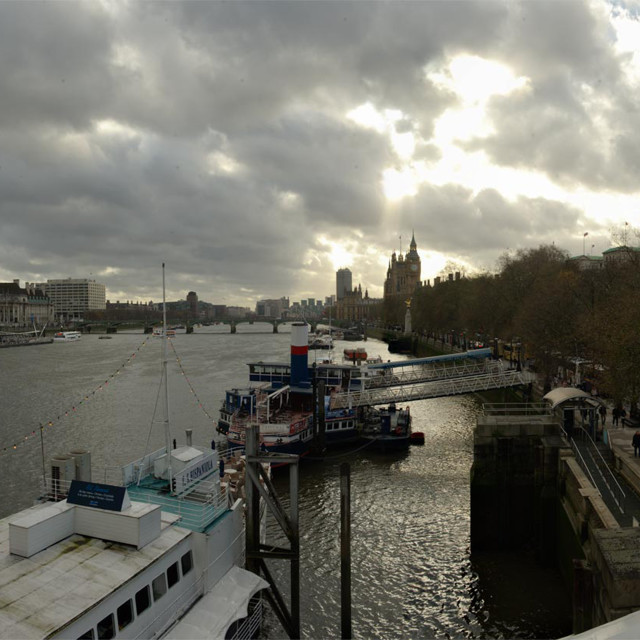 """Grey day on the Thames in London"" stock image"