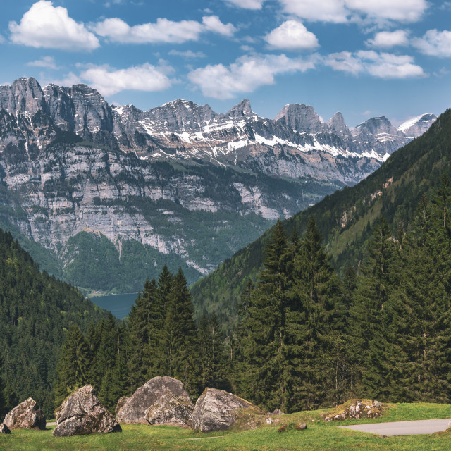 """Mountain peaks with green forest and rocks in Swiss Alps"" stock image"