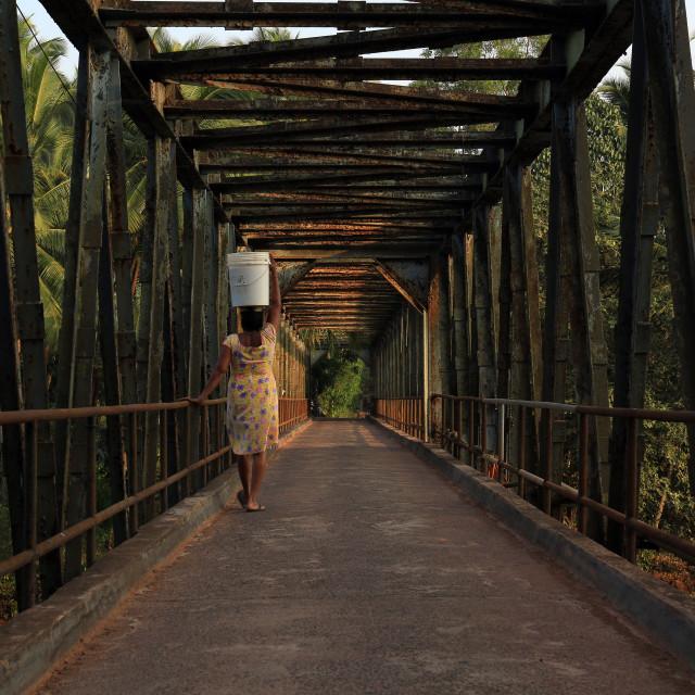 """""""Indian woman in Gokarna."""" stock image"""