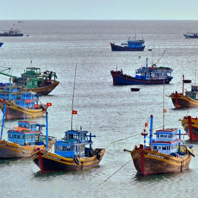 """""""Fishing Fleet in Mui Ne, Vietnam"""" stock image"""