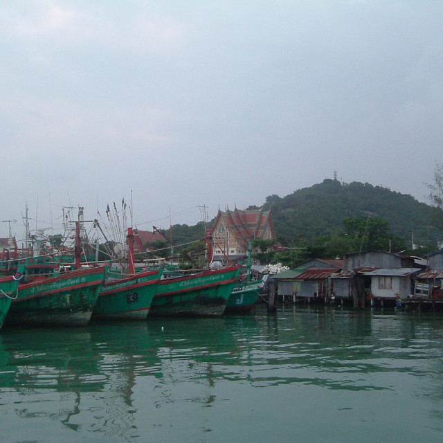 """""""Ships & temple in Songkhla, Thailand"""" stock image"""
