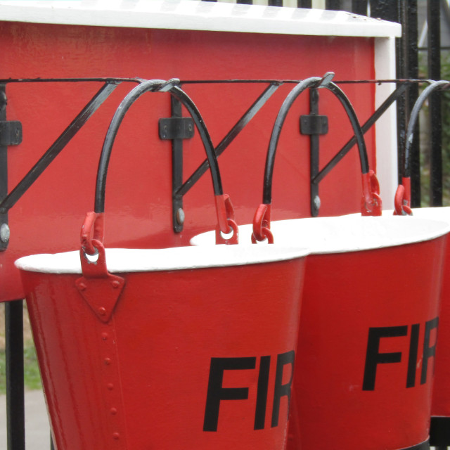 """Fire buckets ready"" stock image"
