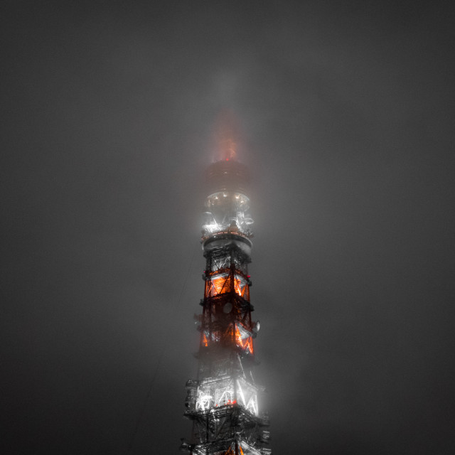 """Tokyo Tower shrouded by fog"" stock image"