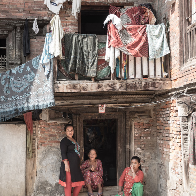 """Nepalese courtyard"" stock image"