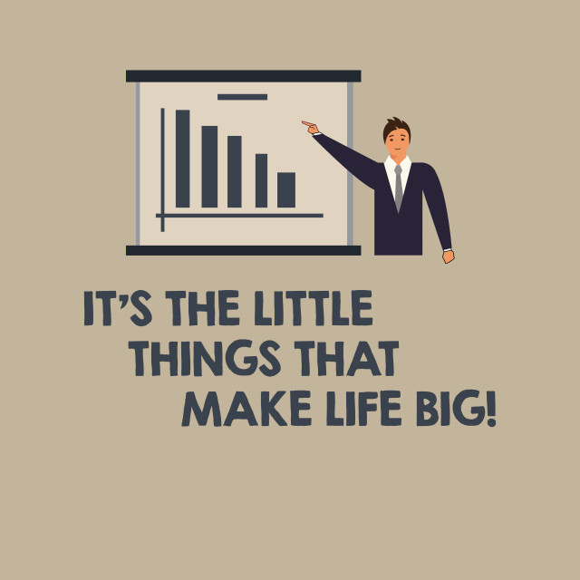 """Writing note showing It S Is The Little Things That Make Life Big. Business..."" stock image"