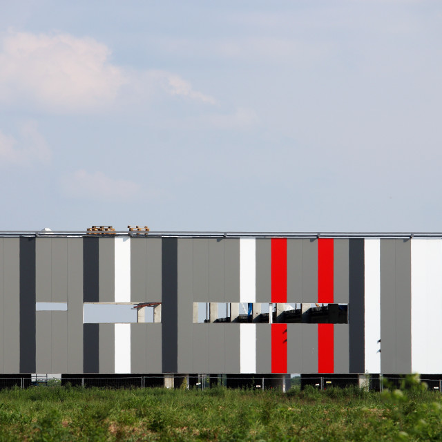 """""""Colorful walls new factory construction site"""" stock image"""
