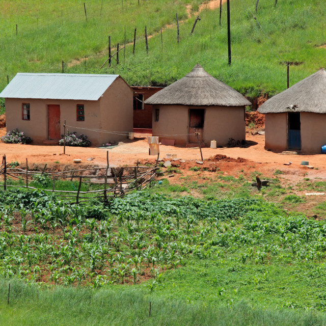 """Small rural settlement in mountainous grassland, KwaZulu-Natal, South Africa"" stock image"