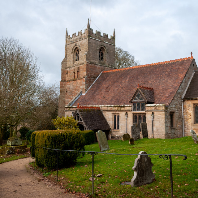 """St. Leonard's Church, Beoley"" stock image"