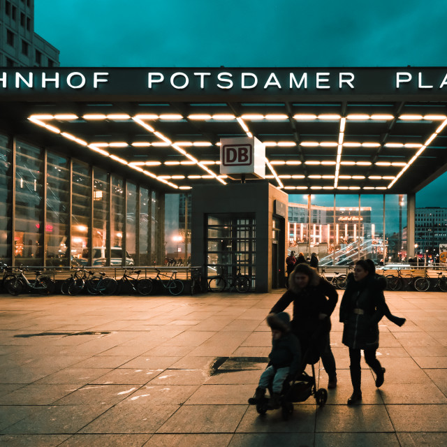 """Potsdamer Platz Station at night"" stock image"