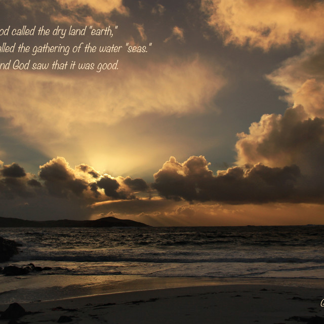 """Sun Rays Beach Image With Christian Verse"" stock image"
