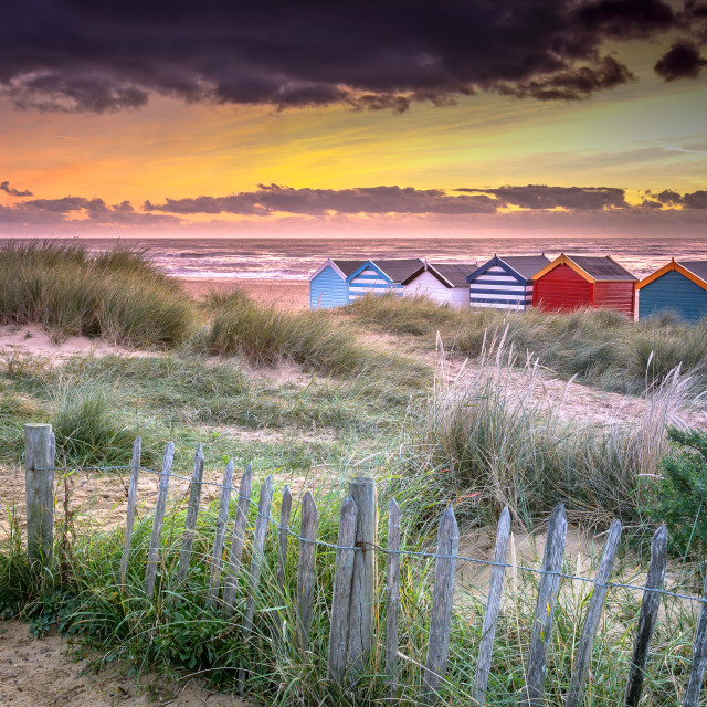 """Gun Hill Beach Southwold"" stock image"
