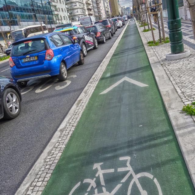"""Cycle lane"" stock image"