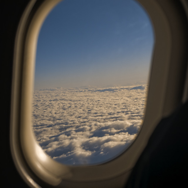 """""""clouds from an aircraft window"""" stock image"""