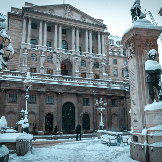 """""""Bank of England in the snow"""" stock image"""