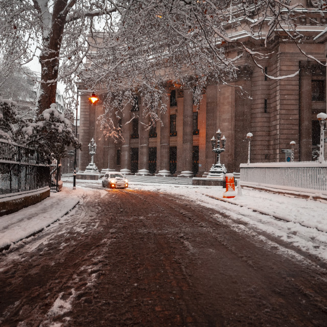 """""""Snow covered Trinity Square, London"""" stock image"""