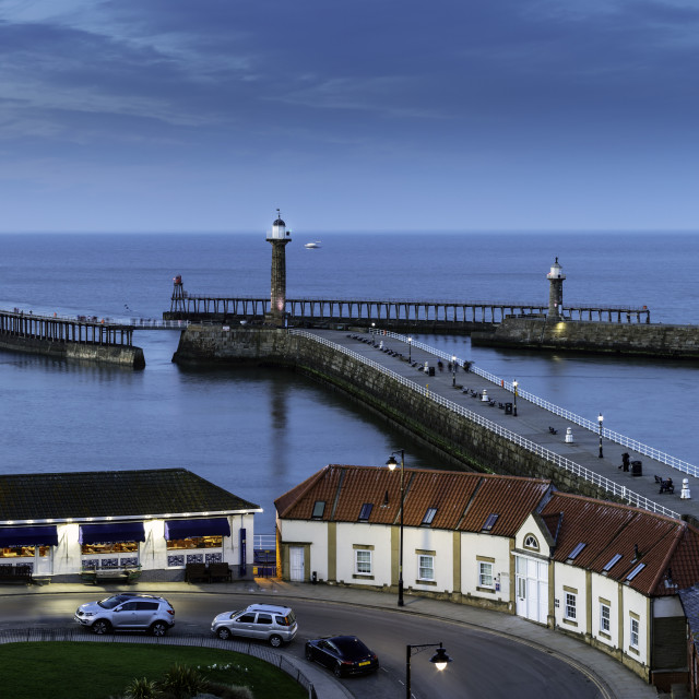 """""""Whitby Piers at Dusk"""" stock image"""