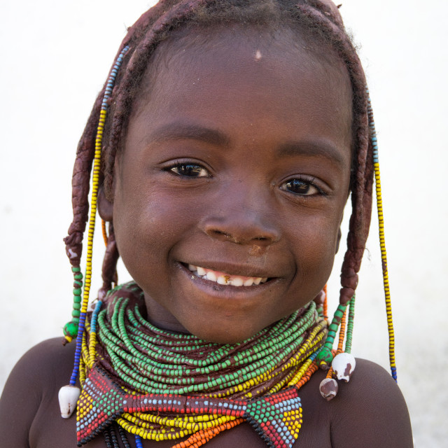 """Mwila tribe girl, Huila Province, Chibia, Angola"" stock image"