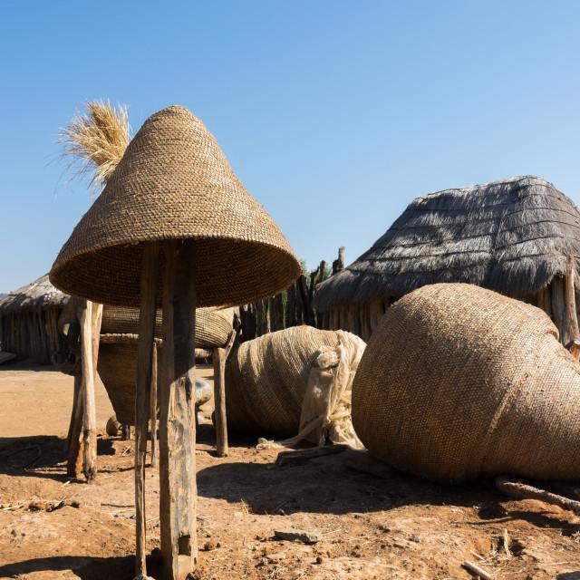 """Big baskets used to store the corn, Huila Province, Chibia, Angola"" stock image"