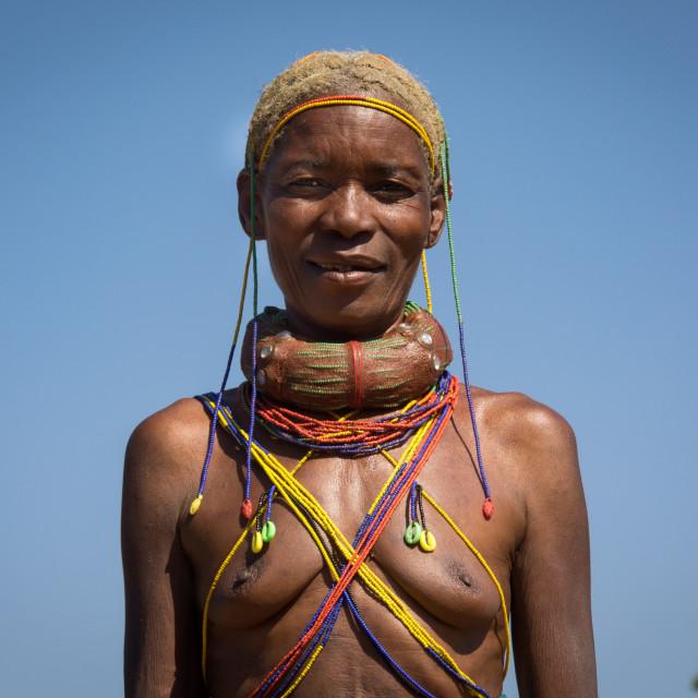 """""""Mungambue tribe woman, Huila Province, Chibia, Angola"""" stock image"""