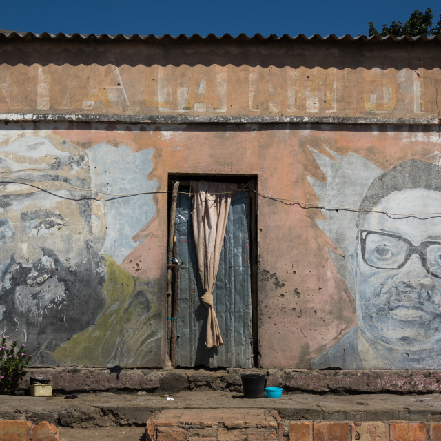 """Old Communist propaganda wall painting of Fidel Castro and Agostinho Neto,..."" stock image"