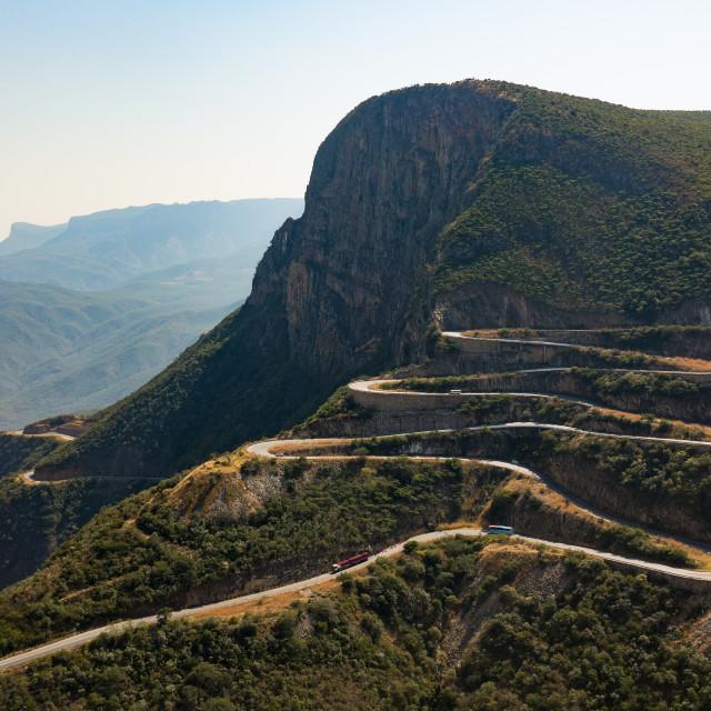 """The winding road at serra da Leba overlooking the cliffs, Huila Province,..."" stock image"