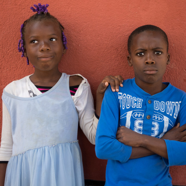 """""""Portrait of Angolan teenagers after the church service, Benguela Province,..."""" stock image"""