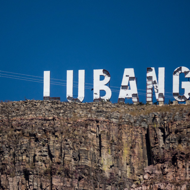 """Lubango sign, next to Cristo Rei, overlooking the city, Huila Province,..."" stock image"