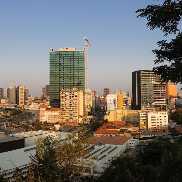 """Panoramic view of the Marginal promenade in Luanda city center at sunset,..."" stock image"