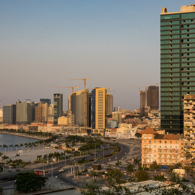 """View of the Marginal promenade in Luanda city center at sunset, Luanda..."" stock image"