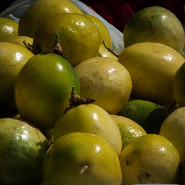 """""""Fresh passion fruits in at the market, Benguela Province, Catumbela, Angola"""" stock image"""