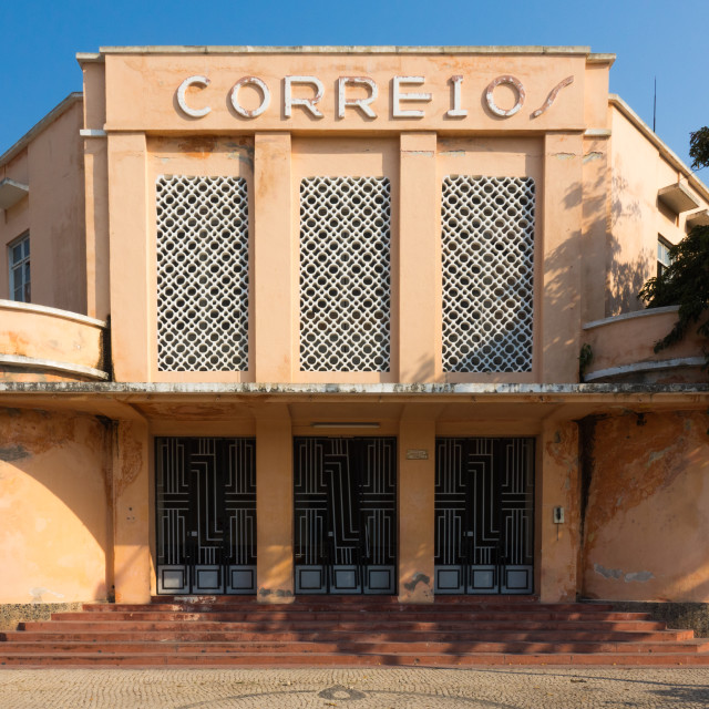 """""""Post Office from the Portuguese colonial era, Benguela Province, Lobito, Angola"""" stock image"""