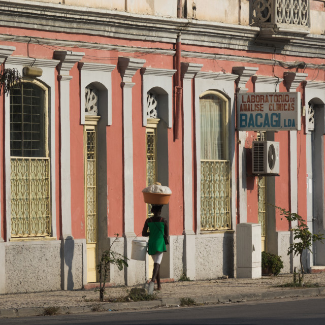 """Old Portuguese style colonial building, Benguela Province, Lobito, Angola"" stock image"