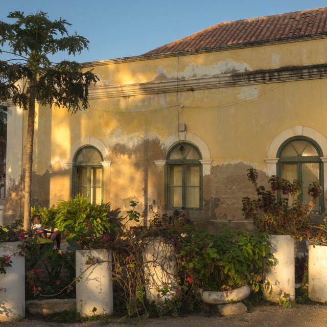 """Old portuguese colonial warehouse, Benguela Province, Benguela, Angola"" stock image"