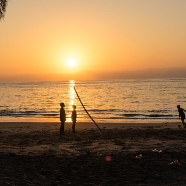 """""""Sunset on the beach, Benguela Province, Benguela, Angola"""" stock image"""