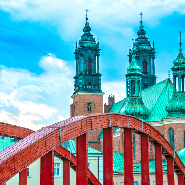 """Cathedral in Poznan, Poland"" stock image"