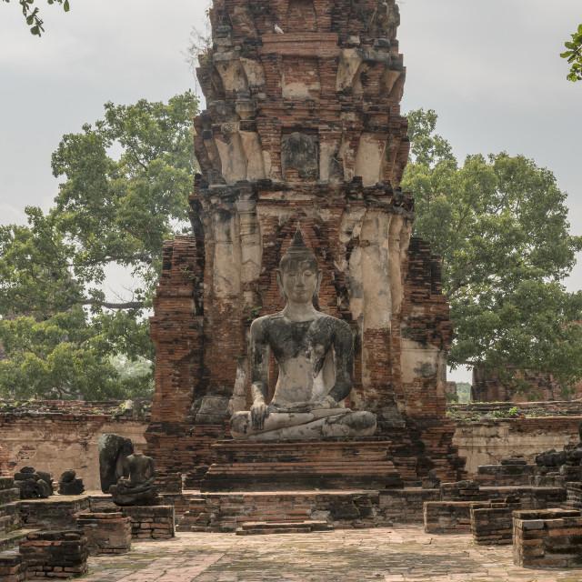"""Buddha Ruin, Attayutha, Thailand"" stock image"