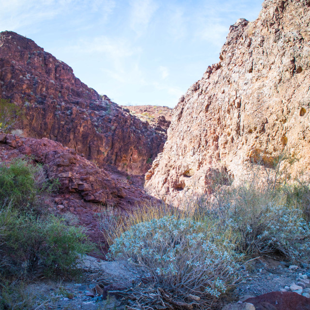 """""""Overlooking view of Sara`s Crack Trail"""" stock image"""