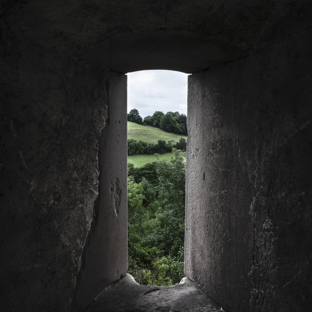 """Nature view through an old stone window. Low light image"" stock image"