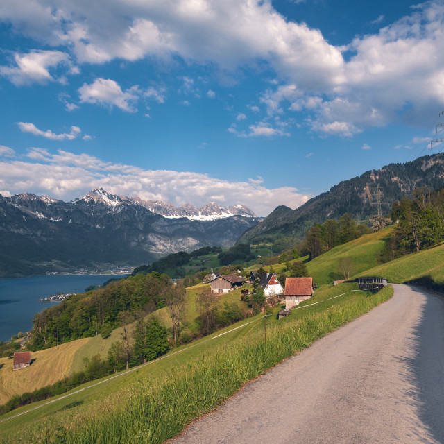 """Road to Swiss village near a lake and the Alps"" stock image"