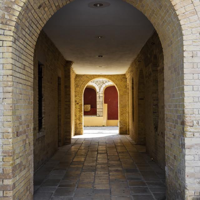 """Entrance to Kerkyra fortress, Corfu town, Greece"" stock image"