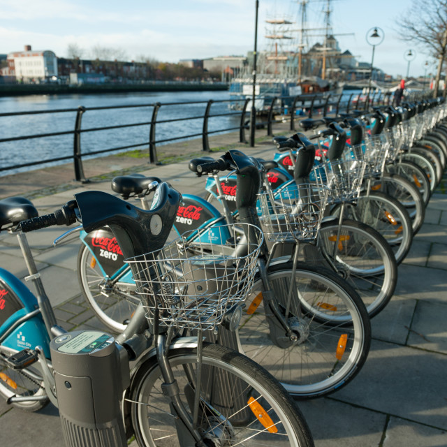 """Dublin Ireland Bicycle sharing scheme sponsored by Cola Zero"" stock image"